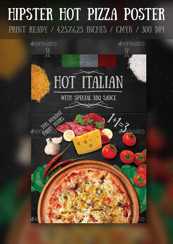 GraphicRiver Hipster Hot Pizza Party FlyerPoster Template 11891951