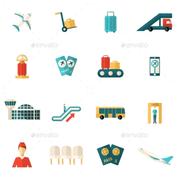 GraphicRiver Airport Icons Flat 11891976