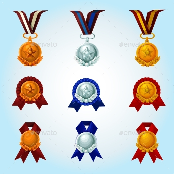 GraphicRiver Medals Cartoon Set 11892021