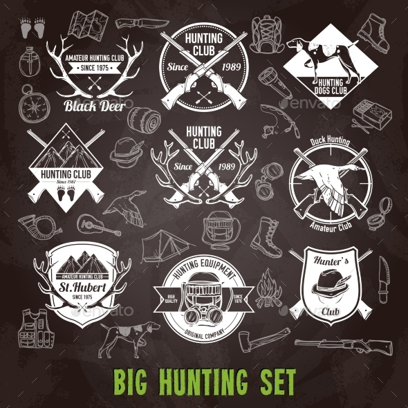 GraphicRiver Hunting Chalkboard Set 11892033