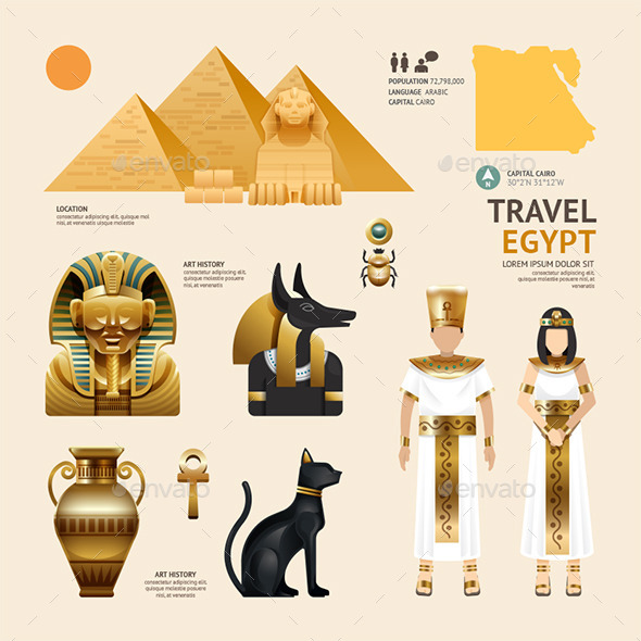 GraphicRiver Egypt Flat Icons Design Travel Concept 11291701