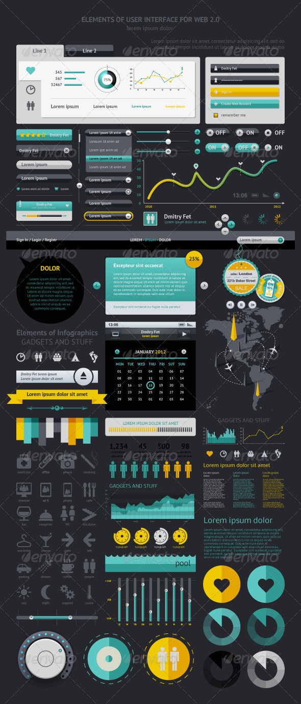 GraphicRiver Elements of Infographics with buttons and menus 1193903