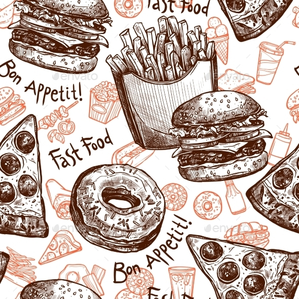 GraphicRiver Fast Food Seamless Pattern 11892059