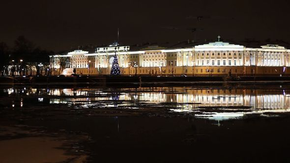 Building Of Senate And Synod At Night