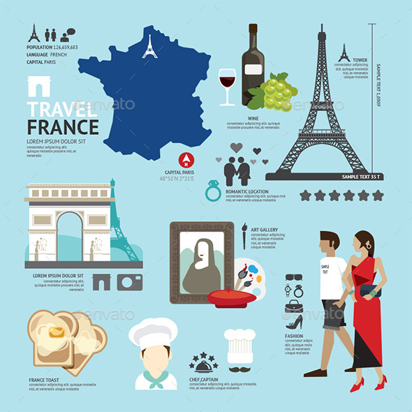 GraphicRiver France Flat Icons Design Travel Concept 11291139