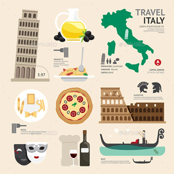 GraphicRiver Italy Flat Icons Design Travel Concept 11290788