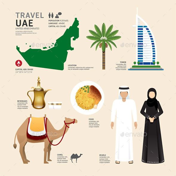 GraphicRiver UAE United Arab Emirates Flat Icons Design 11290477