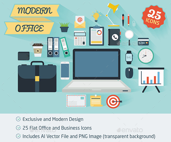 GraphicRiver 25 Office and Business Flat Icons 11892142