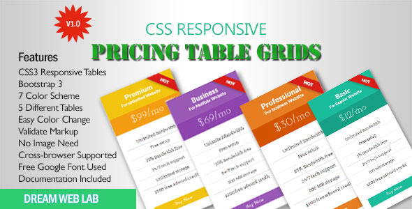 CodeCanyon CSS3 Flat Responsive Pricing Table 11867320