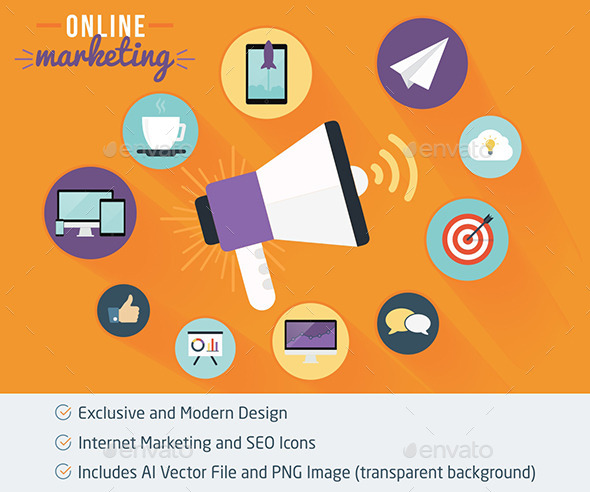 GraphicRiver Online Marketing and SEO Flat Icons 11892148