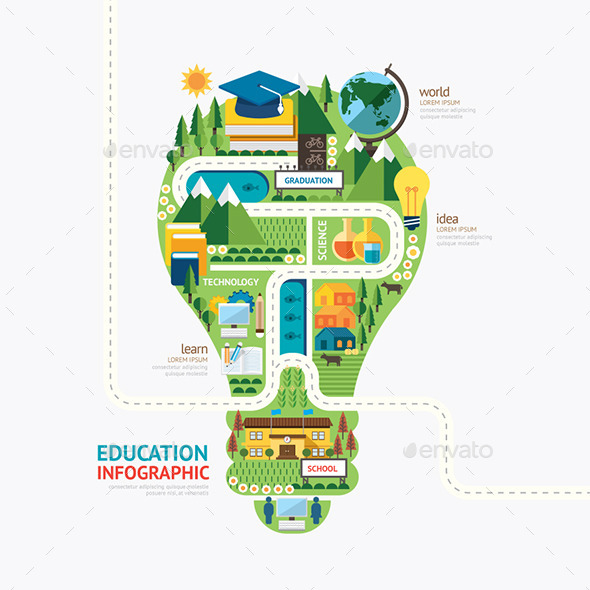 GraphicRiver Infographic Education Light Bulb Shape Template 11892332