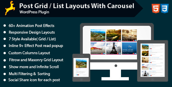 CodeCanyon WordPress Post Grid List Layout With Carousel 11860075