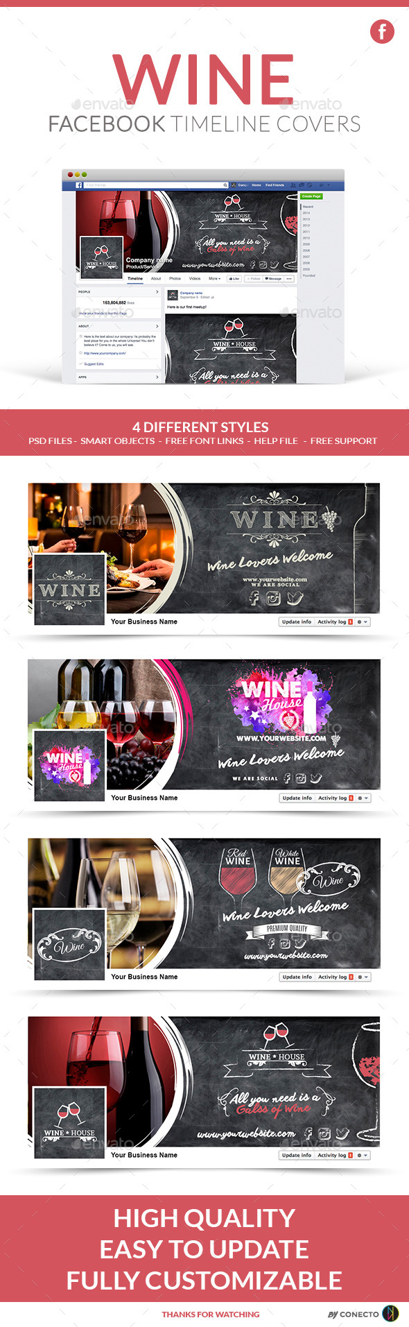 GraphicRiver Facebook Timeline Cover Wine 11892511