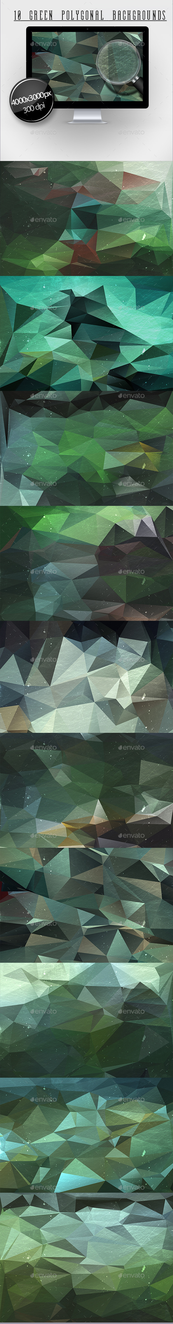 GraphicRiver 10 Green Polygonal Backgrounds 11893537