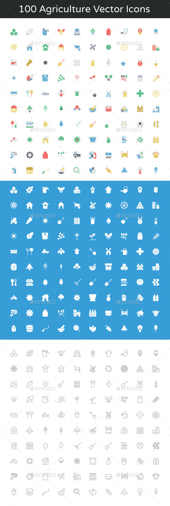 GraphicRiver 100 Agriculture Vector Icons 11893650
