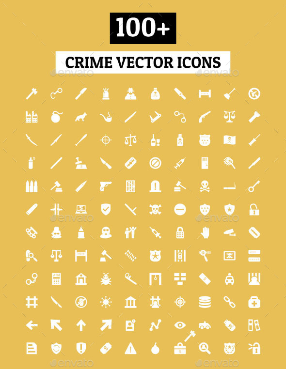 GraphicRiver 100& Crime Vector Icons 11893742