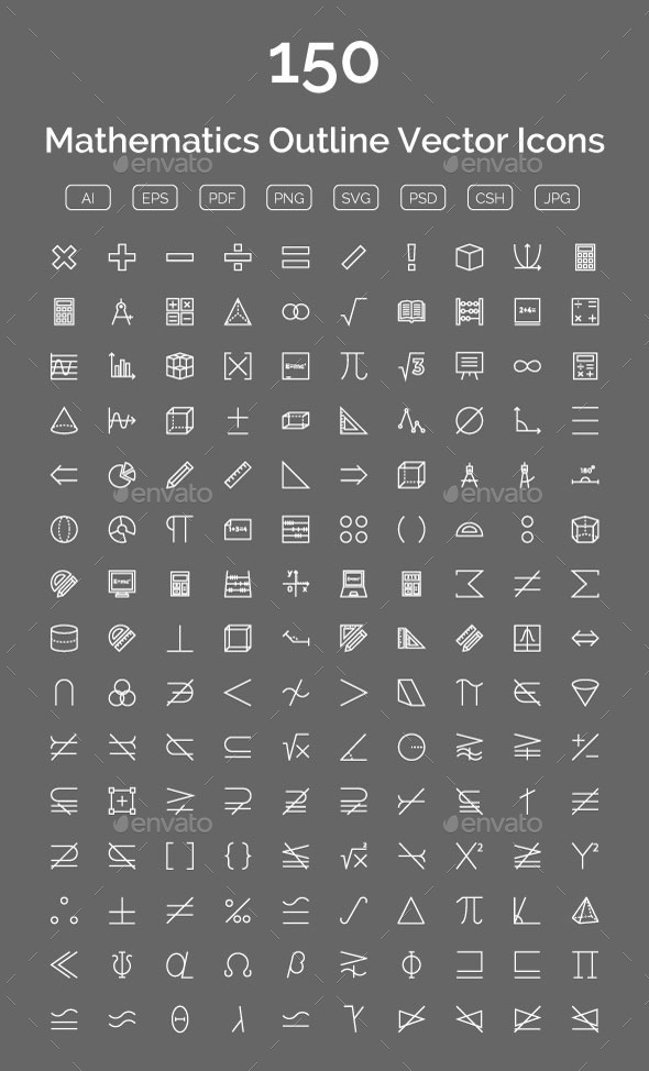 GraphicRiver 150 Mathematics Outline Vector Icons 11893814