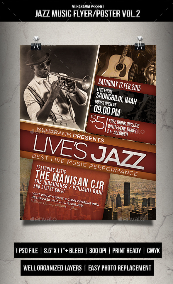GraphicRiver Jazz Music Flyer Poster Vol.2 11893901