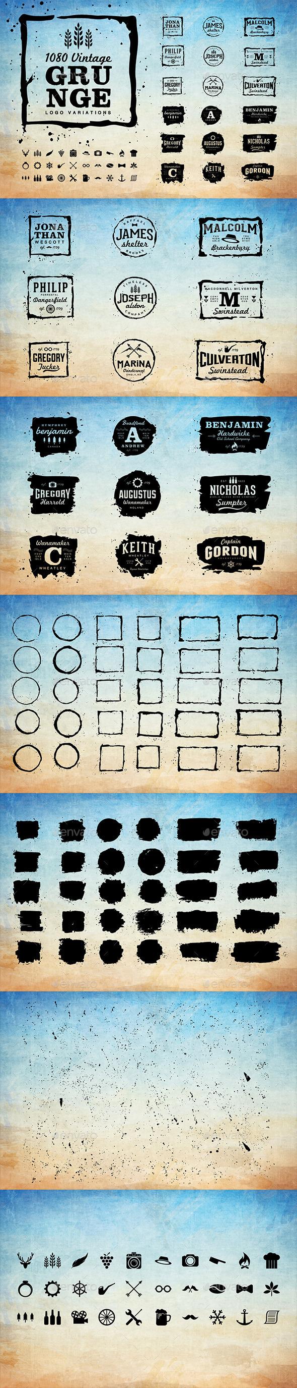 GraphicRiver 1080 Vintage Grunge Logo Variations 11893935