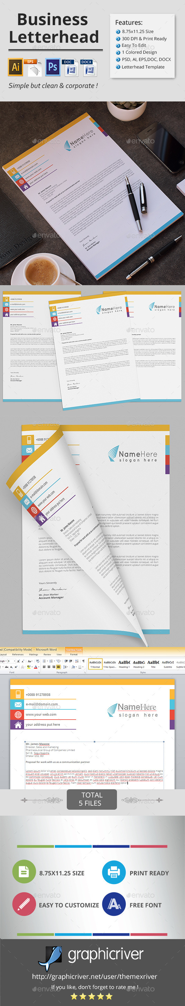 GraphicRiver Business Letterhead 11894295