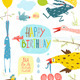 Brightly Colored Fun Cartoon Animals Greeting Card - GraphicRiver Item for Sale