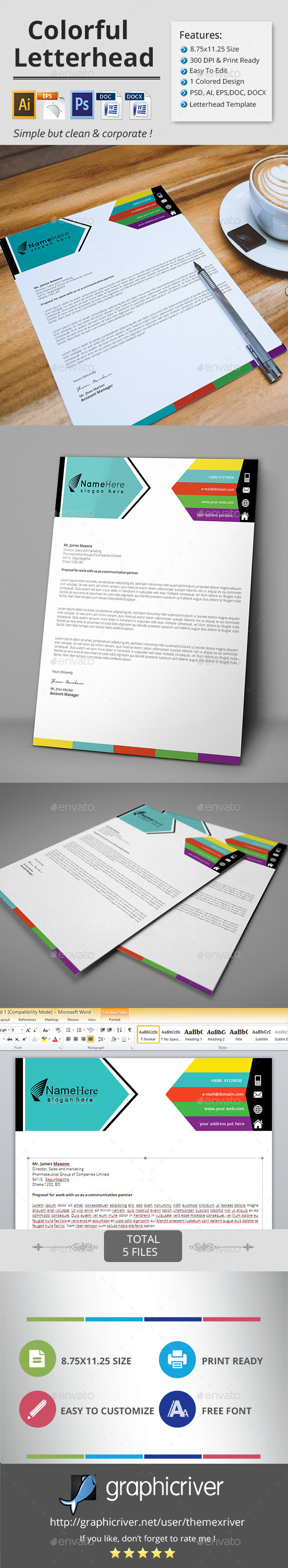 GraphicRiver Colorful Letterhead 11894655