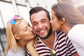 Two women kissing a man - PhotoDune Item for Sale