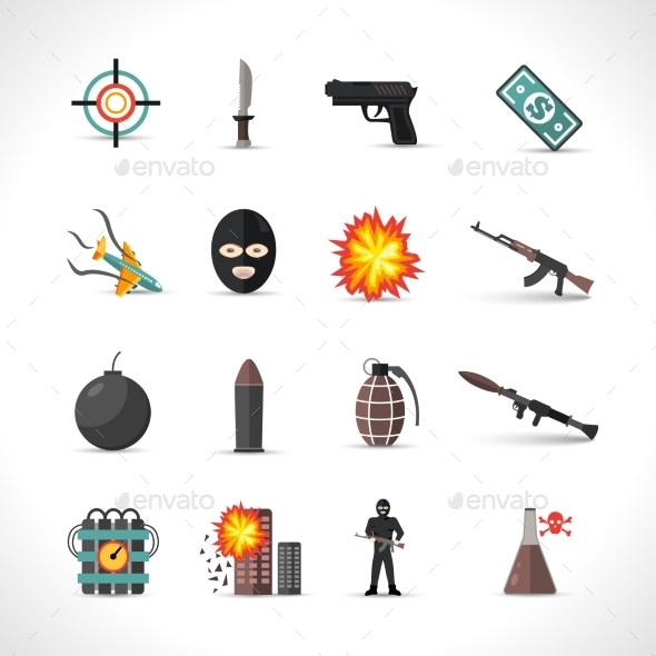 GraphicRiver Terrorism Icons Set 11894910