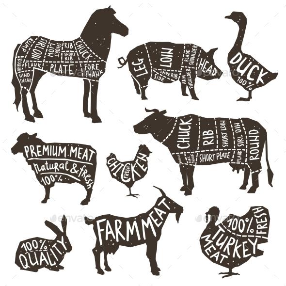 GraphicRiver Farm Animals Silhouette Typographics 11894911