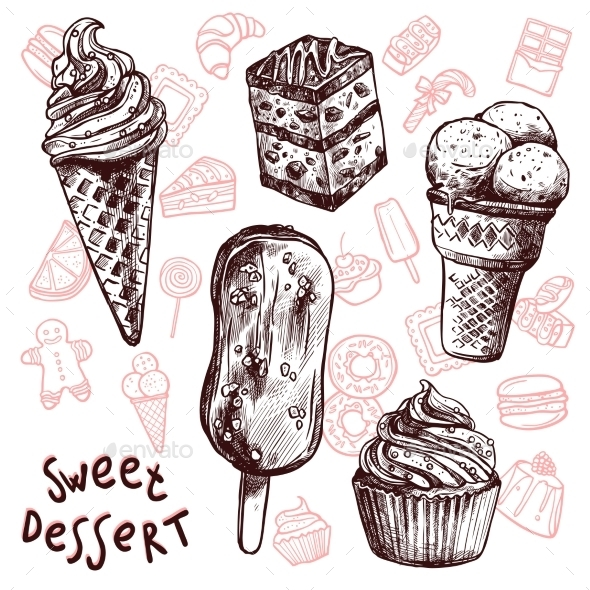 GraphicRiver Ice Cream and Cakes Sketch Set 11894915