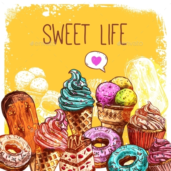 GraphicRiver Sweets Sketch Illustration 11894922