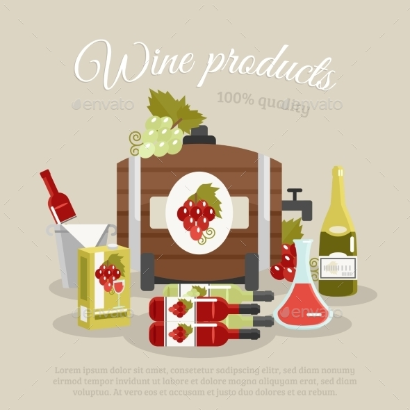 GraphicRiver Wine Products Flat Life Still Poster 11895014