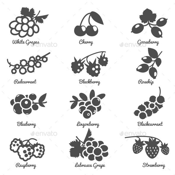 GraphicRiver Berries Flat Icons Set 11895023