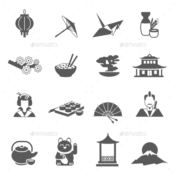 GraphicRiver Japan Silhouette Flat Icon Set 11895151