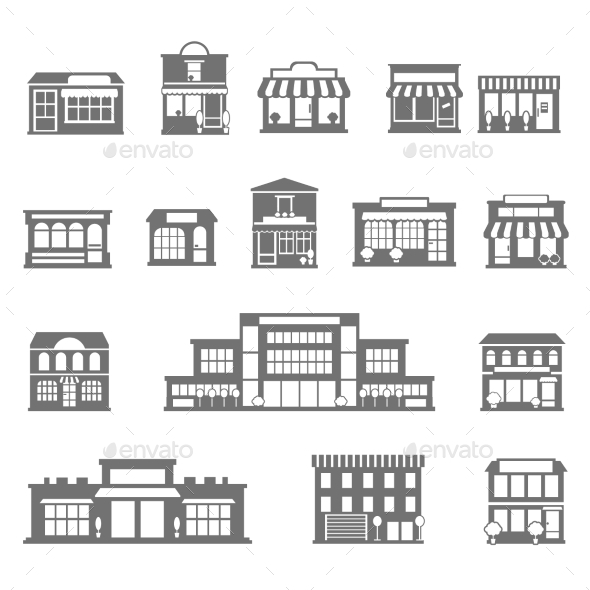 GraphicRiver Stores And Malls Black White Icons Set 11895287