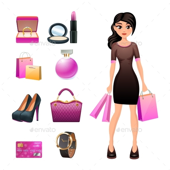 GraphicRiver Women Shopping Decorative Set 11895298