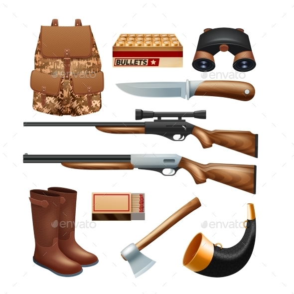 GraphicRiver Hunting Tackle and Equipment Icons Set 11895303