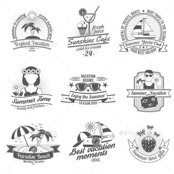 GraphicRiver Summer Black White Labels Set 11895320