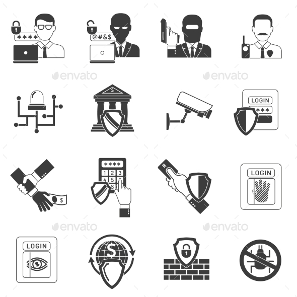 GraphicRiver Bank Security Black Icons Set 11895321