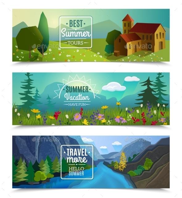 GraphicRiver Summer Landscape Horizontal Banners Set 11895325