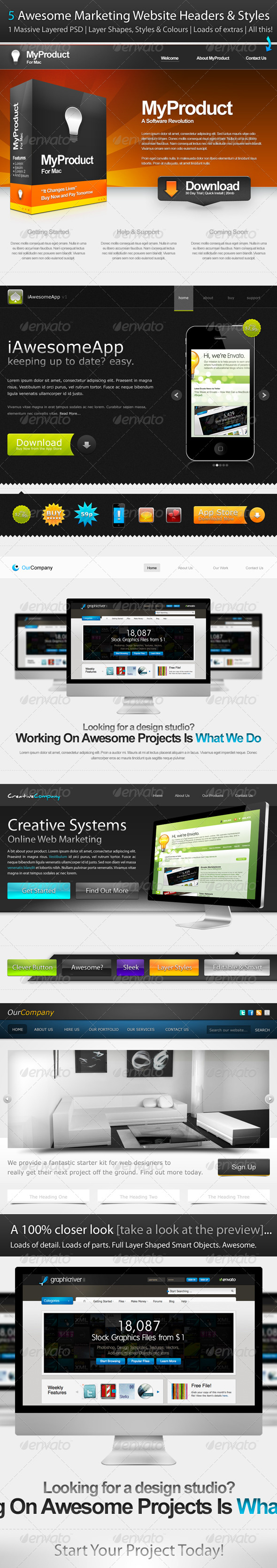 5 Awesome Marketing Website Headers & Styles - Miscellaneous Web Elements