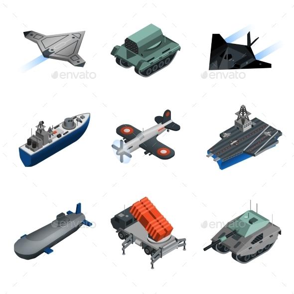 GraphicRiver Military Equipment Isometric Set 11895529