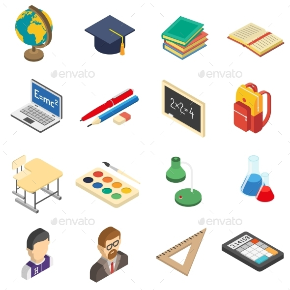 GraphicRiver School Isometric Icons Set 11895533
