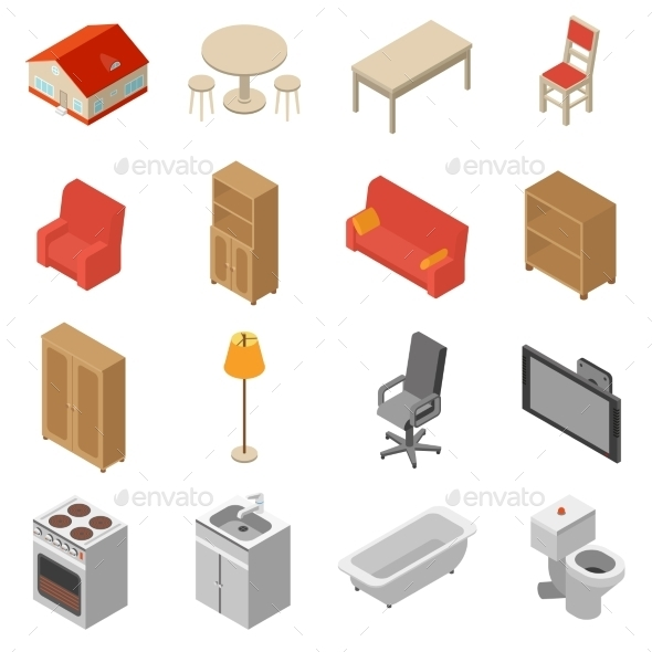 GraphicRiver Interior Isometric Icons Set 11895535
