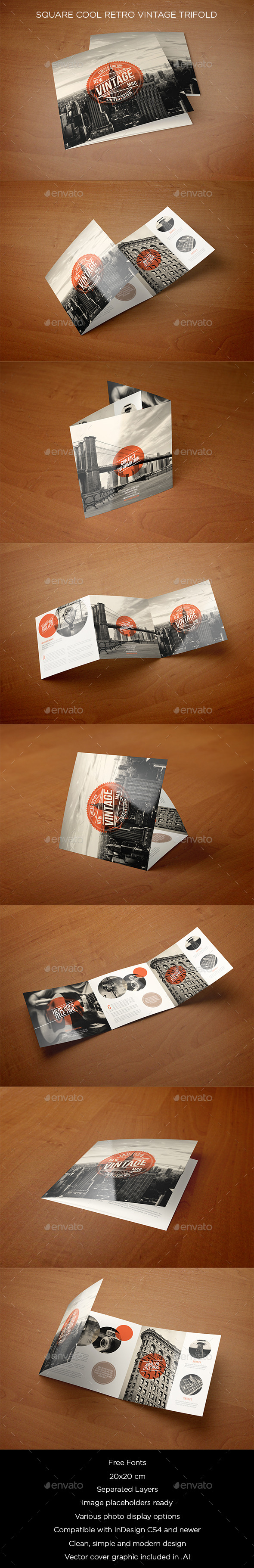 GraphicRiver Square Cool Retro Vintage Trifold 11895700