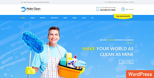 ThemeForest Make Clean Cleaning Company WordPress Theme 11638916
