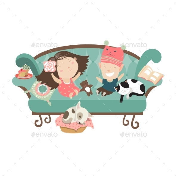 GraphicRiver Happy Kids Sitting on the Couch 11895899