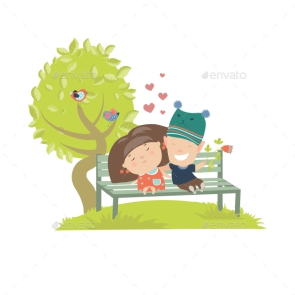 GraphicRiver Teenagers Sitting on the Bench 11895901