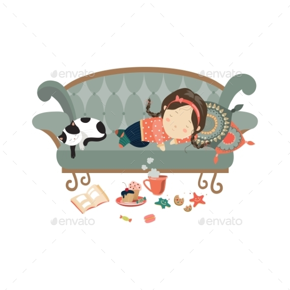 GraphicRiver Lazy Sleeping Girl with Cat 11895907