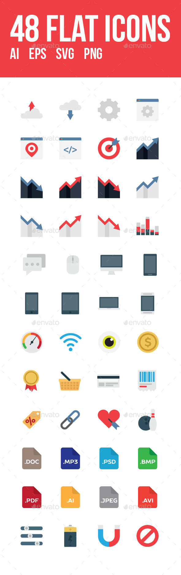 GraphicRiver 48 vector flat icons 11897091